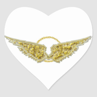 Golden wings with halo heart sticker