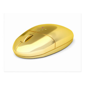 Golden wireless mouse postcard