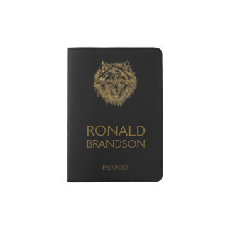 Golden Wolf Head Black Passport Holder