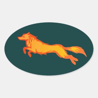 Golden Wolf Oval Sticker