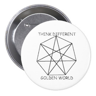 Golden World 3 Inch Round Button