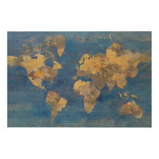 Golden World Wood Print