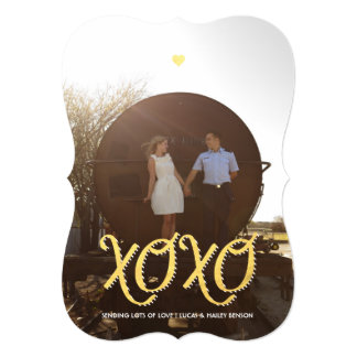 "Golden XOXO | Valentine's Day Photo Card 5"" X 7"" Invitation Card"