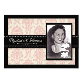 Golden Years Damask Birthday Party Invite (pink)