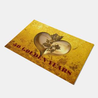 Golden Years Heart + your backgr. & text Doormat