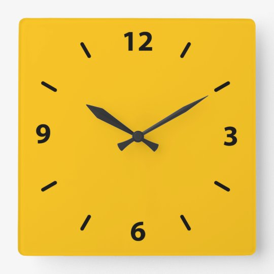 Golden Yellow Amber Colour Accent Square Wall Clock