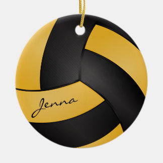 Golden Yellow and Black Personalize Volleyball Ceramic Ornament