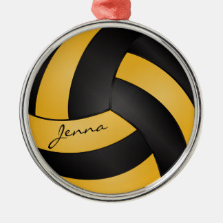 Golden Yellow and Black Personalize Volleyball Silver-Colored Round Ornament