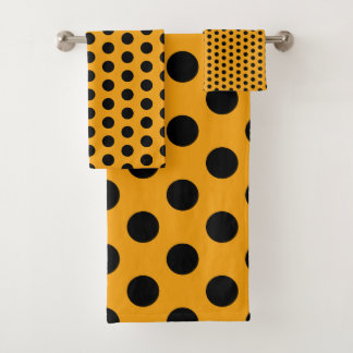 Golden Yellow and Black Polka Dot Bath Towel Set
