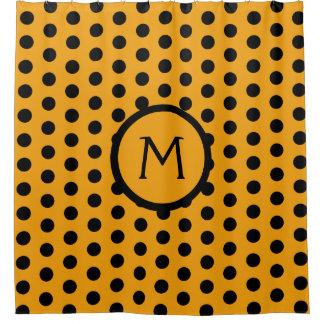 Golden Yellow and Black Polka Dot Monogram