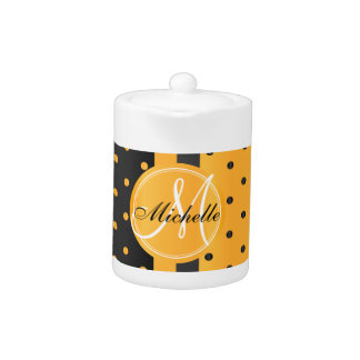 Golden Yellow and Black Polka Dots