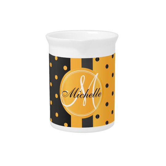 Golden Yellow and Black Polka Dots Drink Pitchers