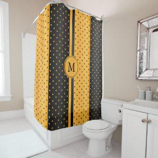 Golden Yellow and Black Polka Dots - Monogram