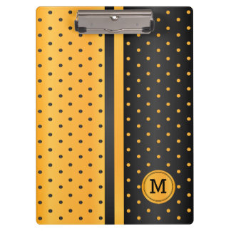 Golden Yellow and Black Polka Dots - Monogram Clipboard