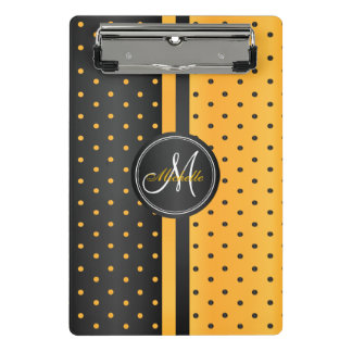Golden Yellow and Black Polka Dots - Monogram Mini Clipboard