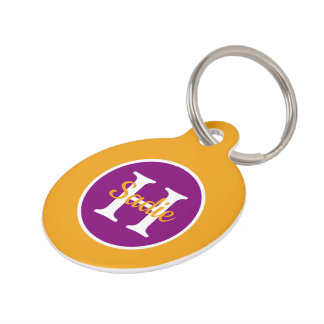 Golden Yellow and Boho Purple Polka Dot Monogram Pet Tag
