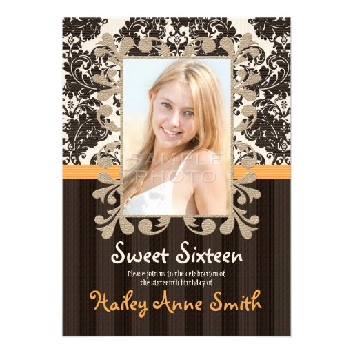 Golden Yellow and Brown Vintage Damask Sweet 16 Personalized Invitation