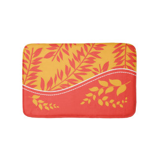 Golden Yellow and Coral Orange Leafy Stems Bathroom Mat