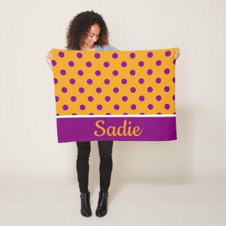 Golden Yellow and Purple Polka Dot Personalized Fleece Blanket