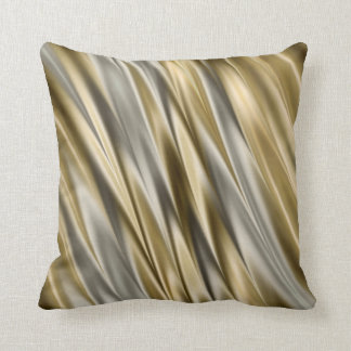 Golden yellow and silver grey satin style stripes throw pillow