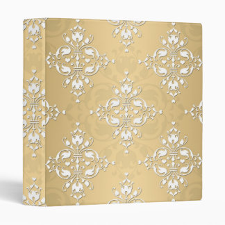 Golden Yellow and White Damask Pattern 3 Ring Binders