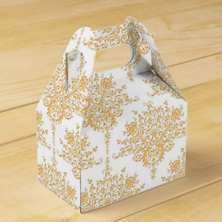 Golden Yellow and White Floral Damask Favor Box