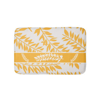 Golden Yellow and White Leafy Stems Bath Mat