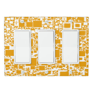 Golden Yellow and White Mini Tile Design Light Switch Cover
