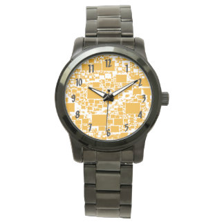 Golden Yellow and White Mini Tile Design Watch