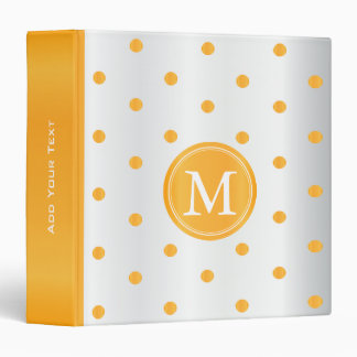 Golden Yellow and White Polka Dots Binder