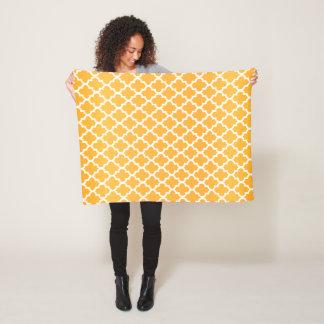 Golden Yellow and White Quatrefoil Pattern Fleece Blanket