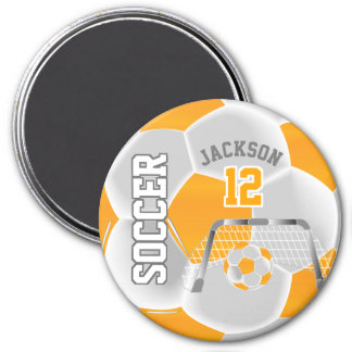 Golden Yellow and White Soccer / Futbol Magnet