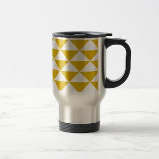 Golden Yellow and White Triangles Travel Mug