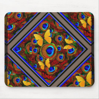 Golden yellow Butterflies Blue Peacock feathers Mouse Pad
