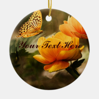 Golden Yellow Butterfly Round Ceramic Ornament