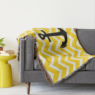 Golden Yellow Chevron Anchor Throw Blanket