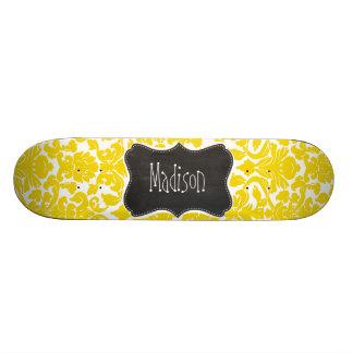 Golden Yellow Damask; Vintage Chalkboard Skate Board