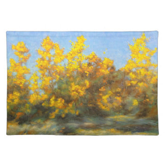 Golden Yellow Fall Trees 1 Sided Cotton Placemat