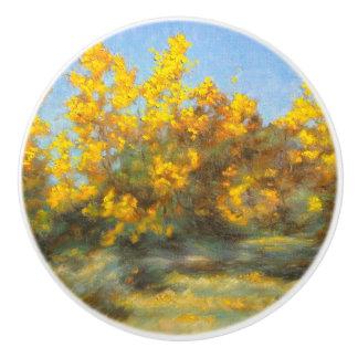 Golden Yellow Fall Trees Ceramic Knob