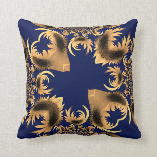 Golden Yellow Floral Motif Abstract on Royal Blue Throw Pillow