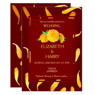 Golden Yellow Floral Wedding Invitation Card