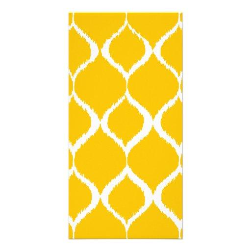 Golden Yellow Geometric Ikat Tribal Print Pattern Photo Greeting Card