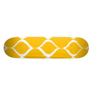 Golden Yellow Geometric Ikat Tribal Print Pattern Skate Board Deck