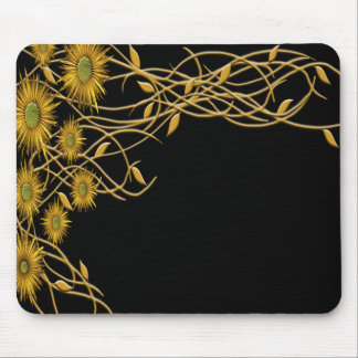 Golden Yellow Grunge Flower and Vine Mouse Pad