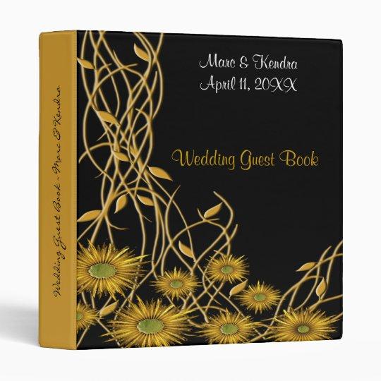 Golden Yellow Grunge Flower & Vine Binder