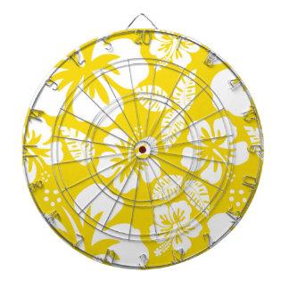 Golden Yellow Hawaiian Tropical Hibiscus Dartboard With Darts
