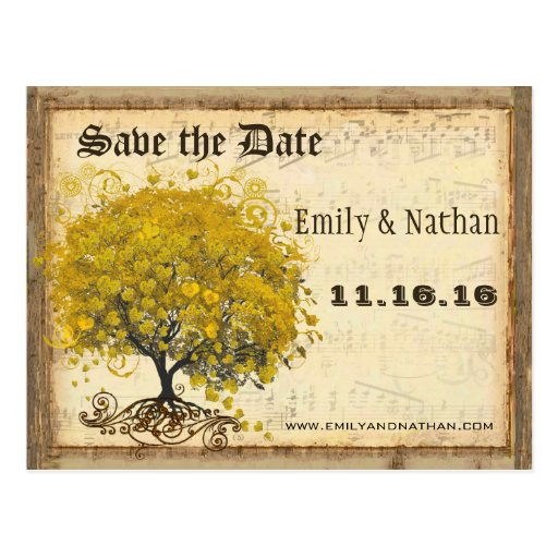 Golden Yellow Heart Leaf Tree Save the Date Postcards