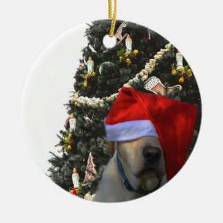 Golden Yellow Labrador in Santa Hat Christmas Ceramic Ornament