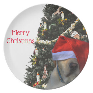Golden Yellow Labrador in Santa Hat Christmas Plate