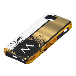 Golden yellow monogrammed iPhone 5 case